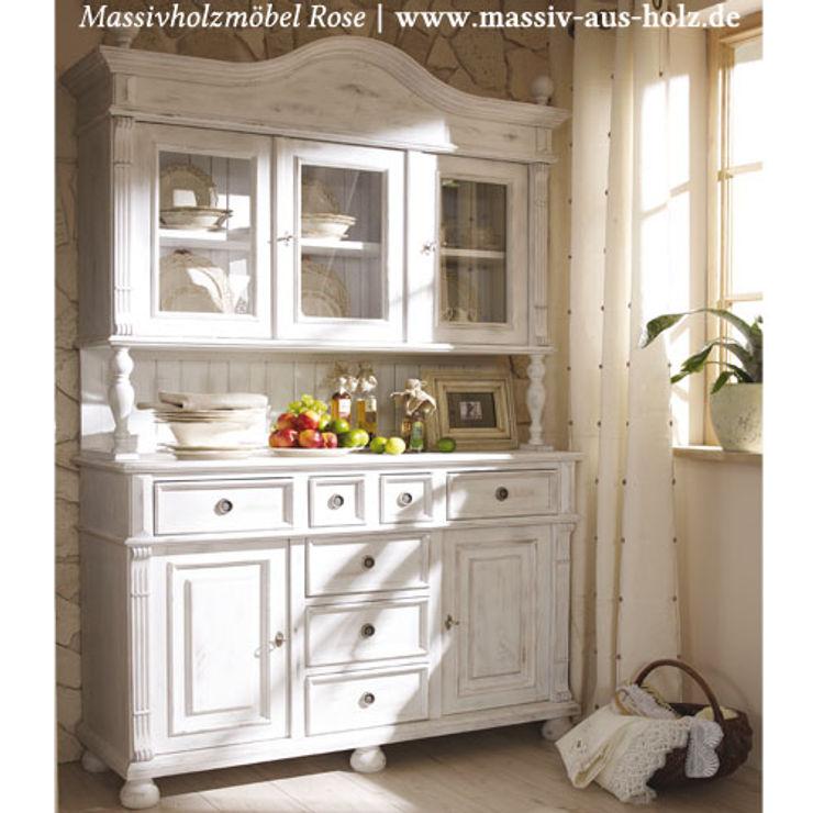 Buffet im Landhausstil   Alt weiß shabby chic Massiv aus Holz Landhaus Küchen Massivholz Weiß