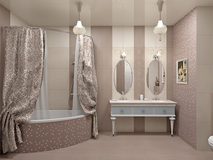 Alena Gorskaya Design Studio Classic style bathrooms Beige