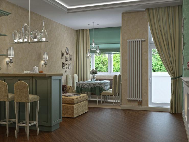 Alena Gorskaya Design Studio Country style dining room Multicolored
