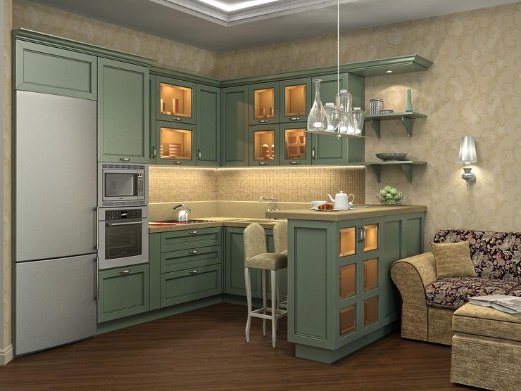 Alena Gorskaya Design Studio Country style dining room Green