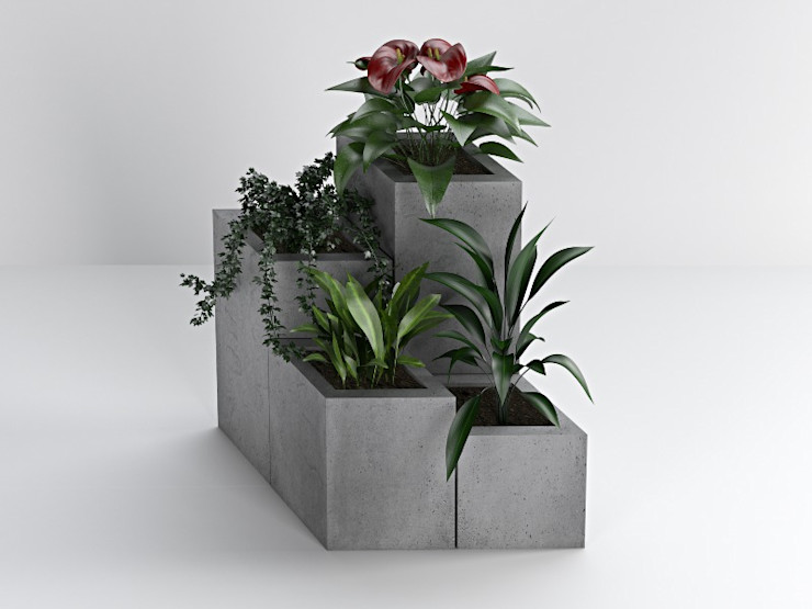 Donice betonowe Bettoni DecoMania.pl Minimalistyczny balkon, taras i weranda