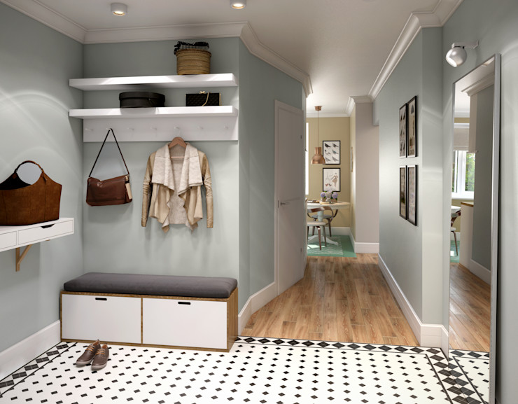 CO:interior Scandinavian style corridor, hallway& stairs