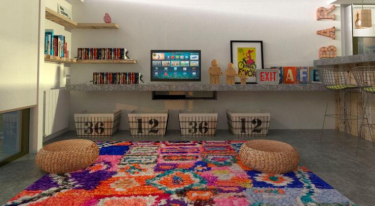 Diseño de cocina y estar para proyecto Casa Primma Estudio 17.30 Salones eclécticos