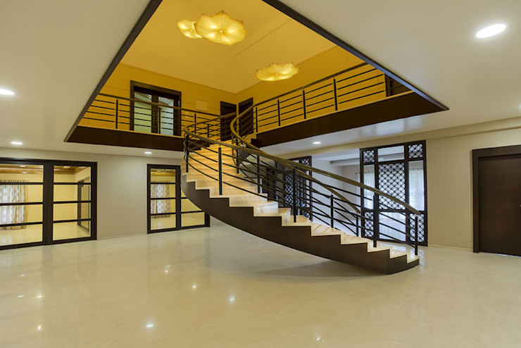 Bangalore Villas Spaces and Design Modern corridor, hallway & stairs
