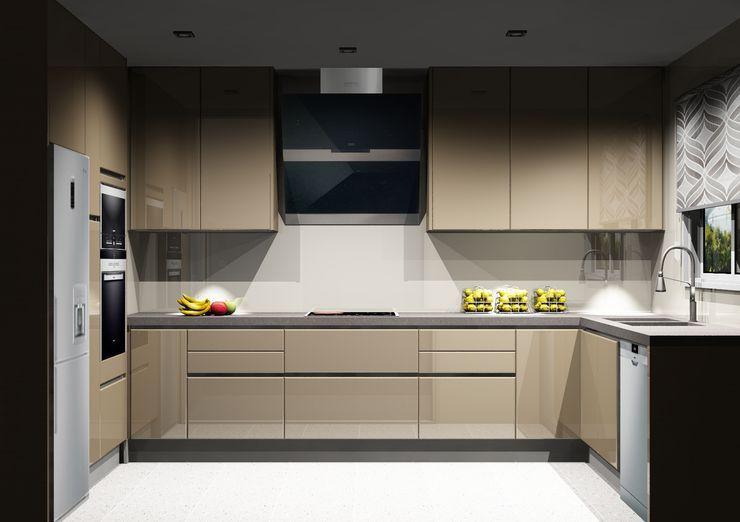 Amplitude - Mobiliário lda Cocinas de estilo moderno Tablero DM Beige