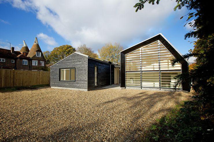 Front elevation of Bourne Lane eco-house in Kent Nash Baker Architects Ltd Modern Houses Wood Black