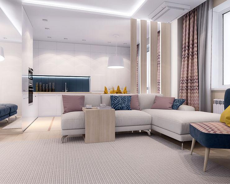 TrioDesign Salas de estilo minimalista Blanco