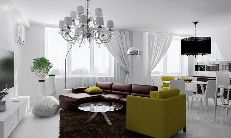 TrioDesign Salas de estilo ecléctico Blanco