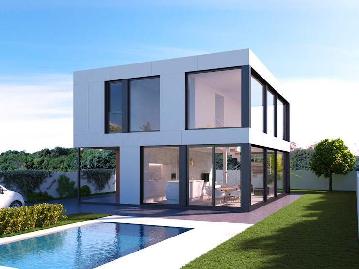 NUÑO ARQUITECTURA Modern Houses Chipboard White