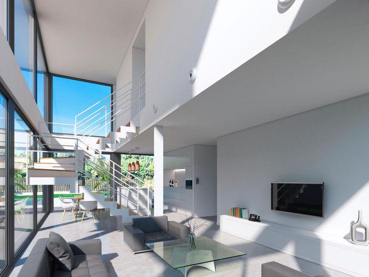 NUÑO ARQUITECTURA Modern Living Room Ceramic White