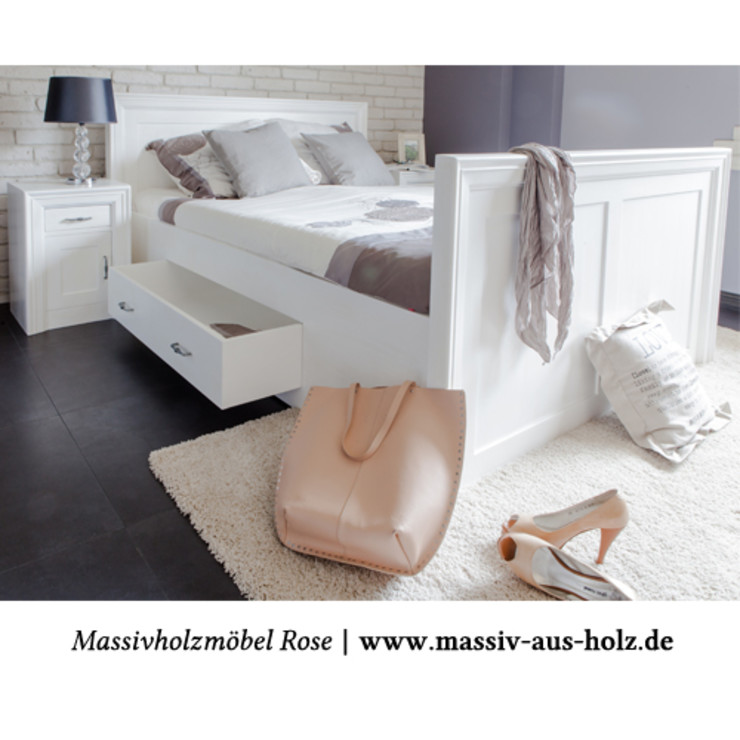 Massiv aus Holz BedroomBeds & headboards Solid Wood White