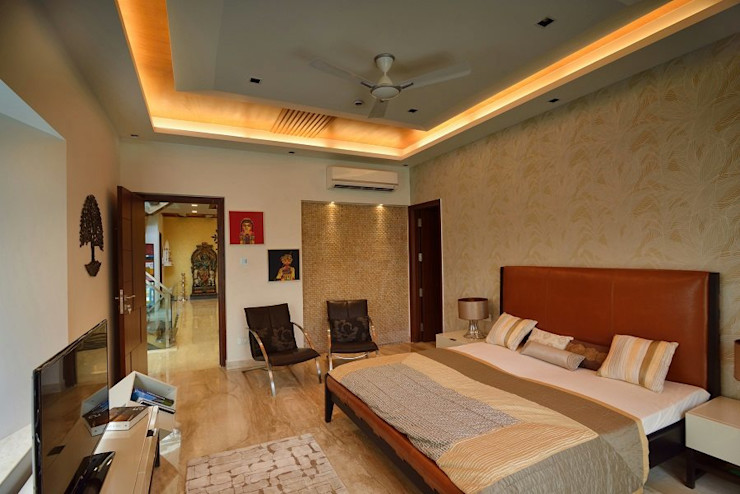 GAJENDRA YADAV'S RESIDENCE Spaces Architects@ka Modern style bedroom