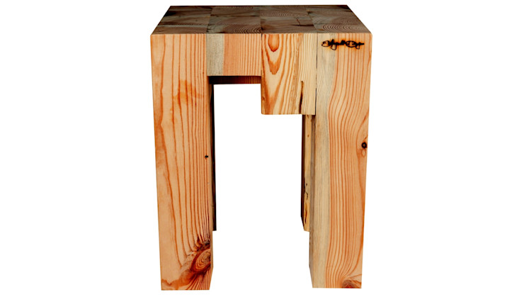 RECLAIMED WOOD STOOL BLOCCO Altavola Design Sp. z o.o. Living roomStools & chairs Wood