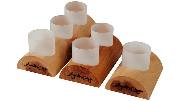 WOOD TEALIGHT HOLDER ME SET 123 Altavola Design Sp. z o.o. Living roomAccessories & decoration Wood