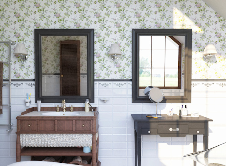 Brama Architects Country style bathroom Tiles Green