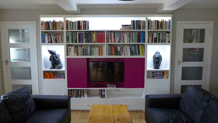 TV Wall Unit Style Within Modern Media Room