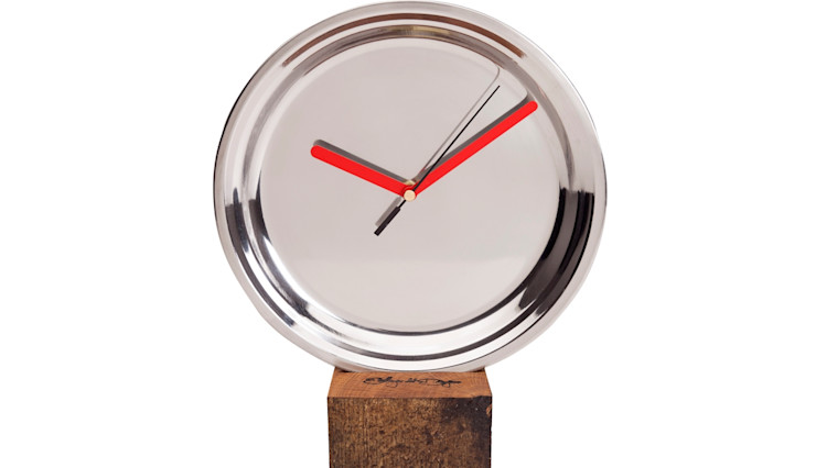 CLOCK MIRRO MEDIUM RED Altavola Design Sp. z o.o. Living roomAccessories & decoration Wood Metallic/Silver