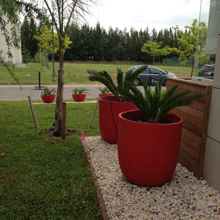 un jardin bien moderno con grandes macetas rojas BAIRES GREEN Jardines de estilo moderno