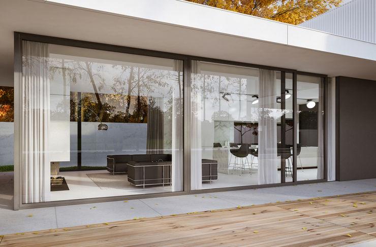 PAWEL LIS ARCHITEKCI Minimalistische huizen Glas Wit