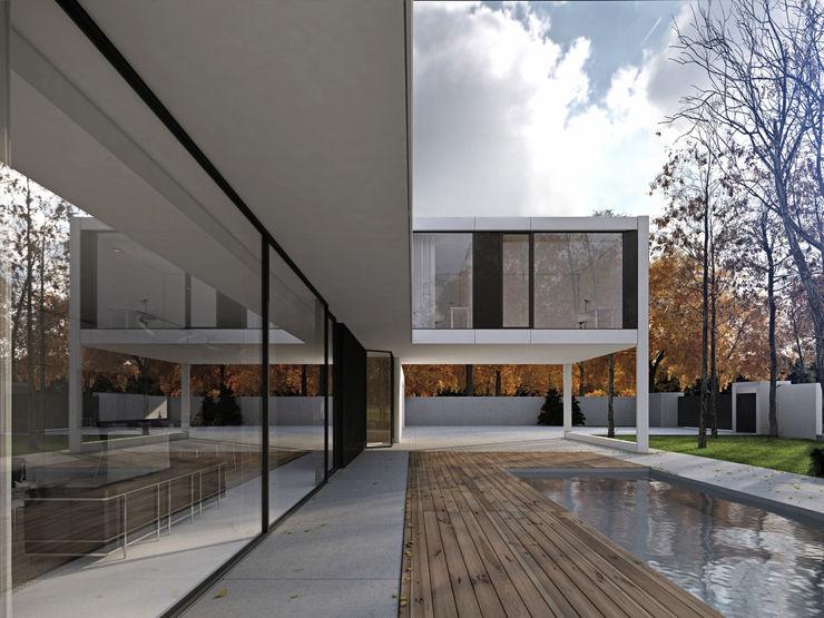 PAWEL LIS ARCHITEKCI Balcones y terrazas de estilo minimalista Madera maciza Blanco