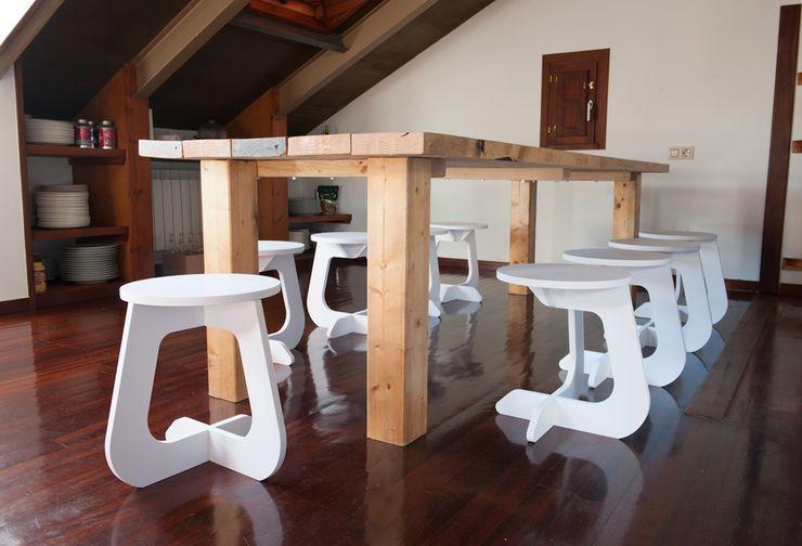 TABUHOME JadalniaKrzesła i ławy Drewno Biały