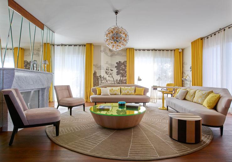 Résidence privée en Italie Studio Catoir Salon moderne Jaune