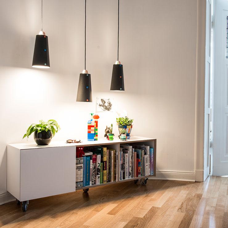 homify Corridor, hallway & stairs Lighting Chipboard Green