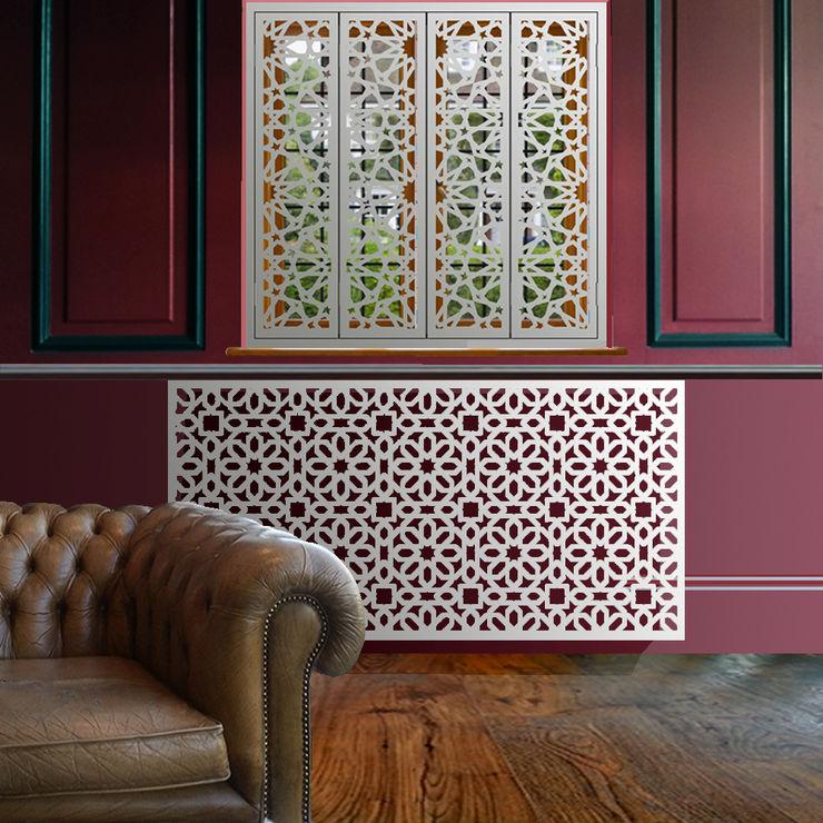 Marrakesh radiator covers in satin white Laser cut Furniture & Screens