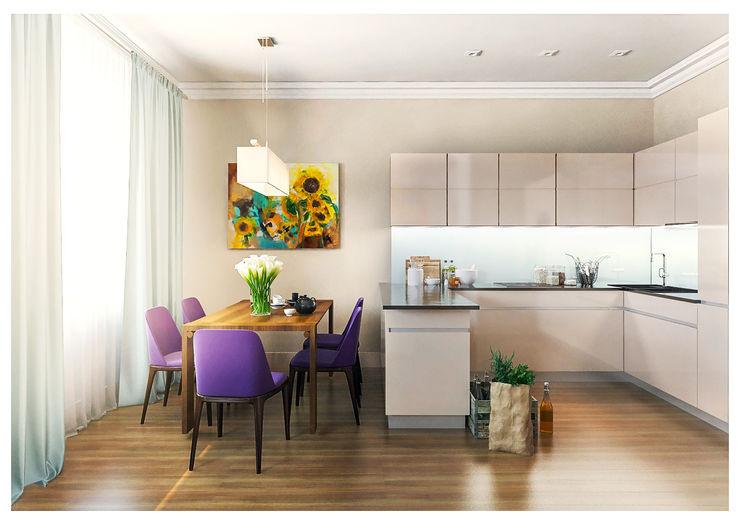 3-bedroom Apartment, Moscow Alexander Krivov Kitchen Beige