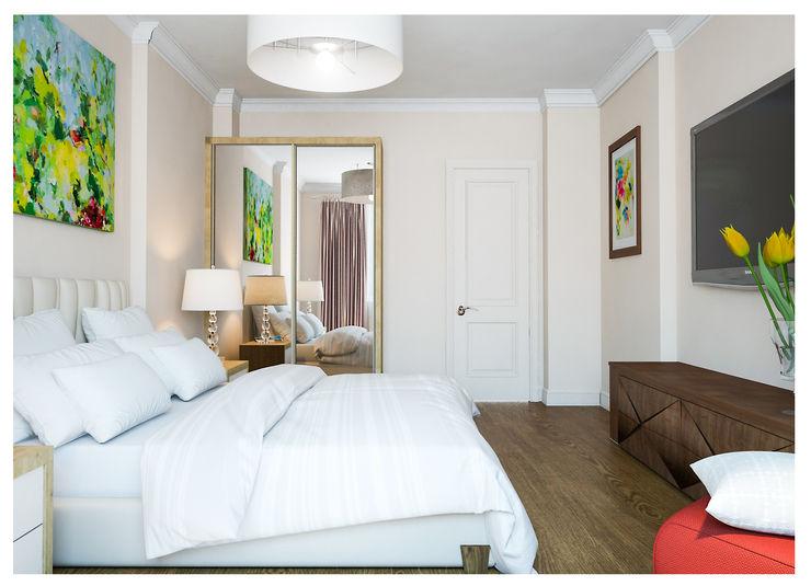 3-bedroom Apartment, Moscow Alexander Krivov Classic style bedroom Beige