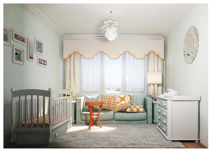 3-bedroom Apartment, Moscow Alexander Krivov Nursery/kid's room Turquoise