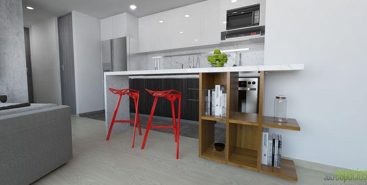 imagen 3d barra cocina homify Cocinas de estilo moderno