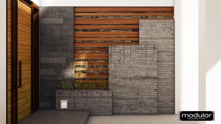 Vestíbulo de Recepción Exterior A224 Modulor Arquitectura Jardines modernos Concreto Gris