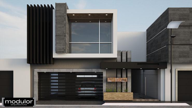 Fachada JR220 Modulor Arquitectura Casas modernas Pizarra Gris