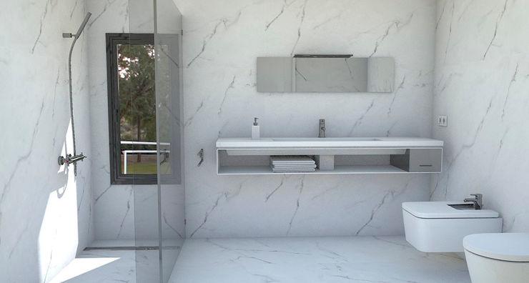 NUÑO ARQUITECTURA ห้องน้ำ หินควอตซ์ White