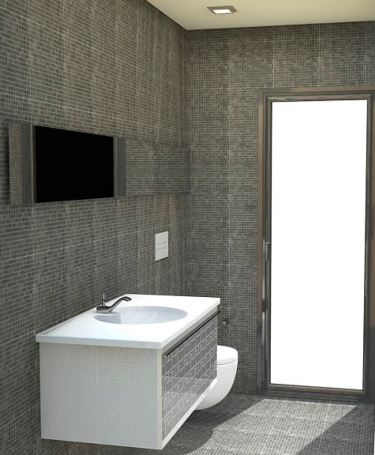 Baño de servicio revestido de gresite NUÑO ARQUITECTURA Baños de estilo moderno Cerámico Negro