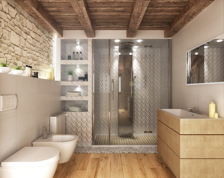 Architetto Luigia Pace Rustic style bathroom Wood White