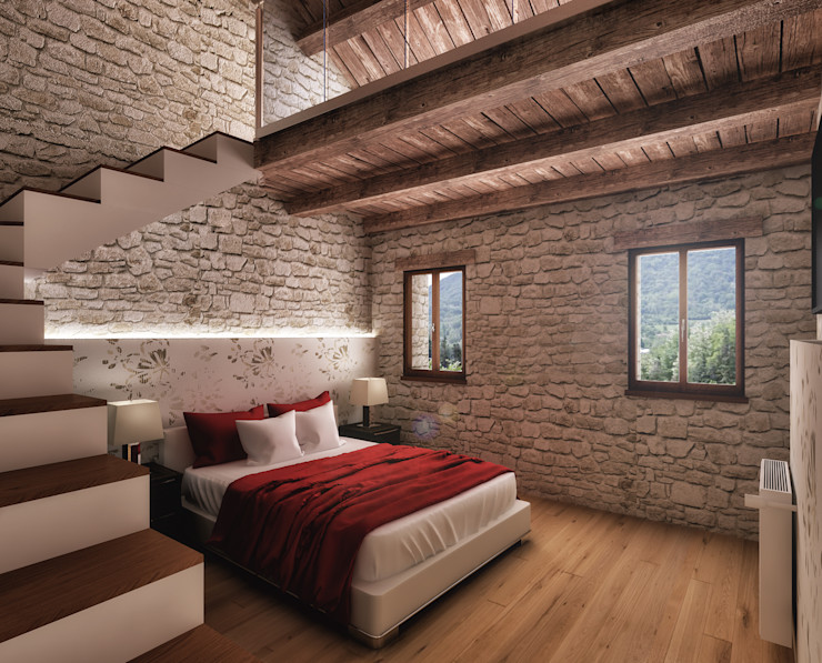 Architetto Luigia Pace Rustic style bedroom Wood Wood effect