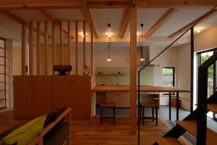 ドマのあるキッチン・ダイニング 株式会社TERRAデザイン オリジナルデザインの リビング 木 木目調