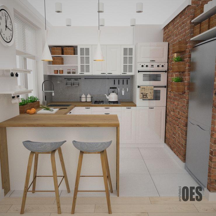 OES architekci Cocinas de estilo escandinavo Ladrillos Blanco