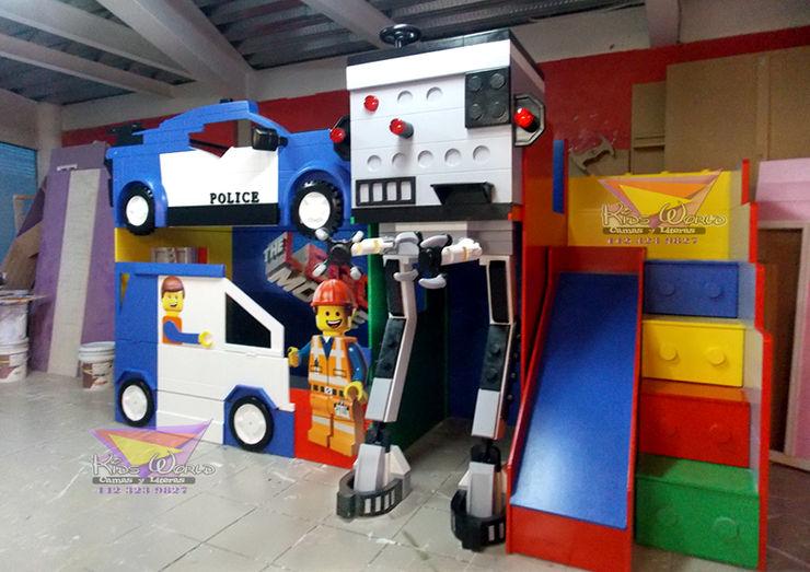 IMPRESIONANTE LITERA TIPO LEGO MOVIE Kids Wolrd- Recamaras Literas y Muebles para niños Dormitorios infantiles modernos Compuestos de madera y plástico Azul