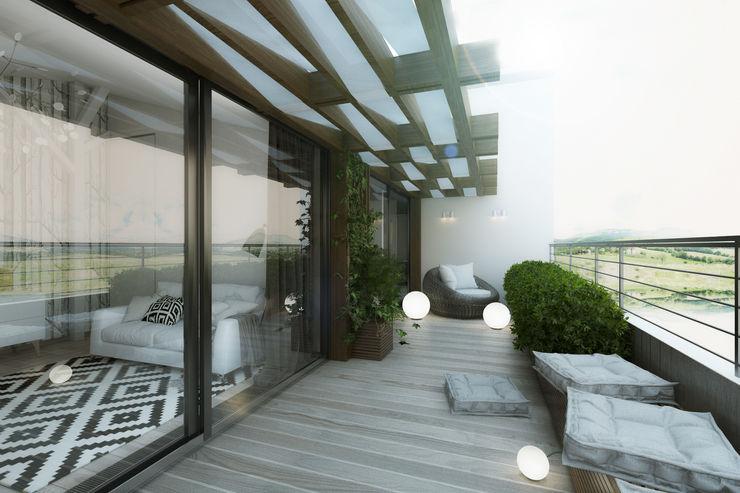 BURO'82 Modern balcony, veranda & terrace