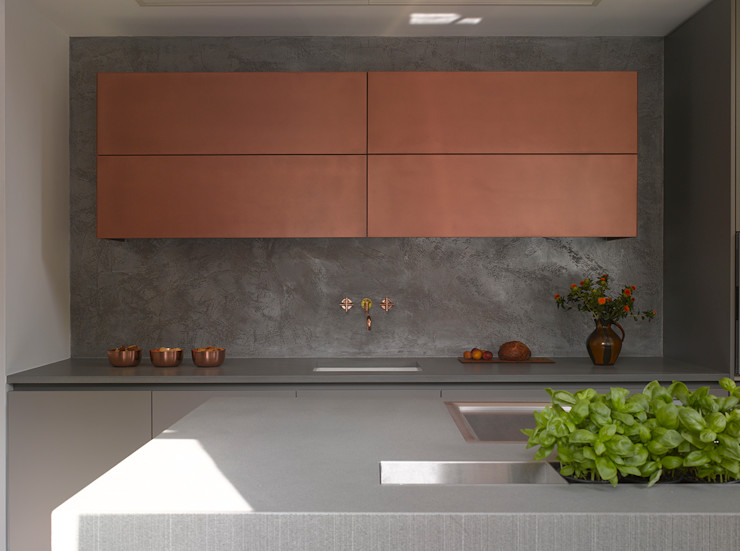 Burnished Copper Metallic Finish Roundhouse KitchenCabinets & shelves Metallic/Silver