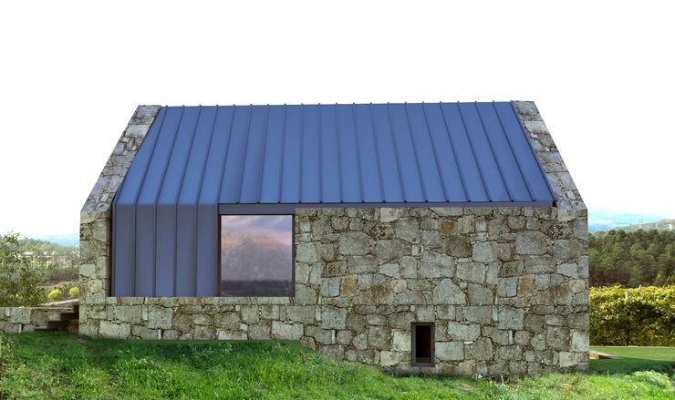 Davide Domingues Arquitecto Rustic style houses Granite Metallic/Silver