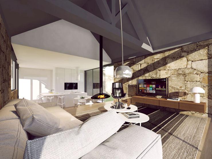 Davide Domingues Arquitecto Rustic style living room Granite Metallic/Silver