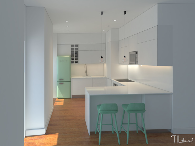 Kitchen homify Cocinas de estilo minimalista Tablero DM Blanco
