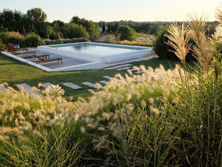 Vista sobre patamar da piscina Atelier Jardins do Sul Jardins ecléticos