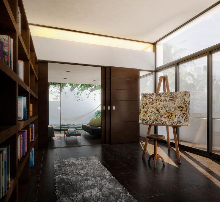 RESIDENCIA JARDINES DEL BOSQUE TAQ arquitectura Pasillos, vestíbulos y escaleras minimalistas Madera Acabado en madera