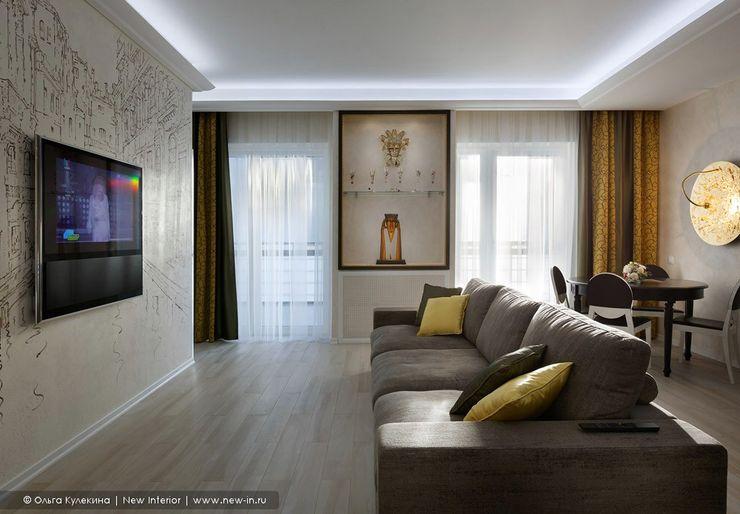 Квартира с террасой «Черное золото» Ольга Кулекина - New Interior Гостиная в классическом стиле