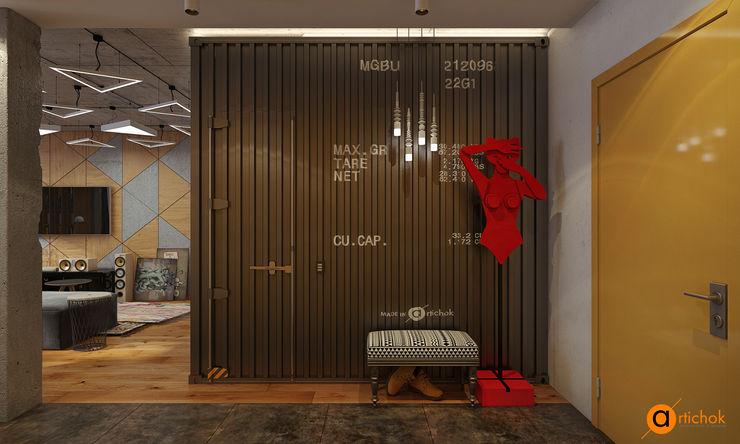 Artichok Design Pasillos, vestíbulos y escaleras de estilo industrial